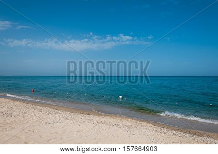 A beautiful sunny day at the beach in Soverato, Calabria, Italy