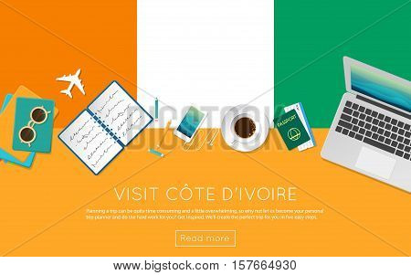 Visit Cote D'ivoire Concept For Your Web Banner Or Print Materials. Top View Of A Laptop, Sunglasses