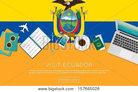 Visit Ecuador Concept For Your Web Banner Or Print Materials. Top View Of A Laptop, Sunglasses And C