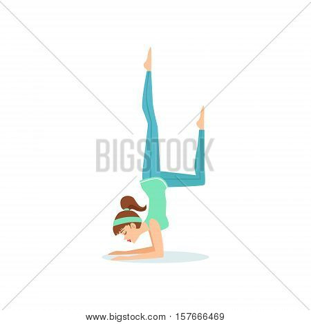One Legged Crow Eka Pada Bakasana Yoga Pose Demonstrated By The Girl Cartoon Yogi With Ponytail In Blue Sportive Clothing Vector Illustration. Part Of Collection Of Yoga Asana Postures Drawing With Young Woman In Training Outfit