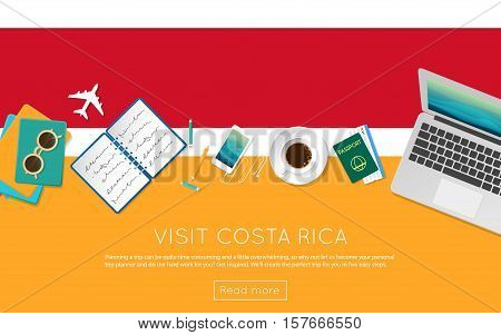 Visit Costa Rica Concept For Your Web Banner Or Print Materials. Top View Of A Laptop, Sunglasses An