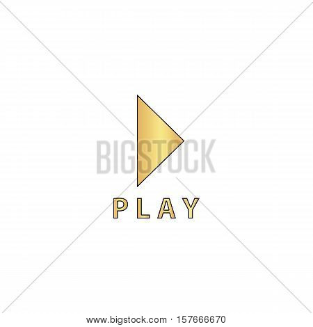 Play button Gold vector icon with black contour line. Flat computer symbol
