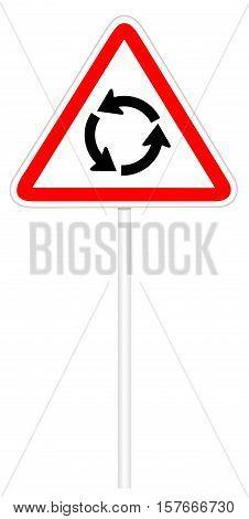 Warning traffic sign isolated on white 3D illustration - Roundabout