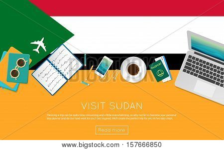 Visit Sudan Concept For Your Web Banner Or Print Materials. Top View Of A Laptop, Sunglasses And Cof