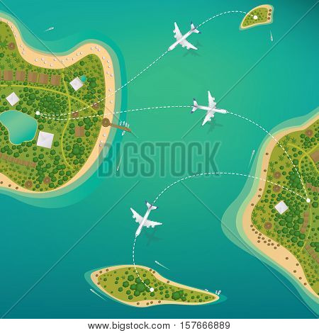 Several different sizes of tropical islands with beaches and houses. Around float boats and planes fly. View from above. Air traffic or domestic flights concept