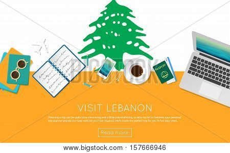 Visit Lebanon Concept For Your Web Banner Or Print Materials. Top View Of A Laptop, Sunglasses And C