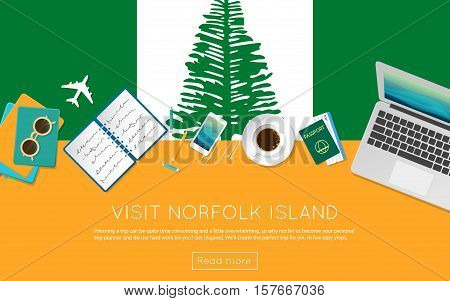 Visit Norfolk Island Concept For Your Web Banner Or Print Materials. Top View Of A Laptop, Sunglasse
