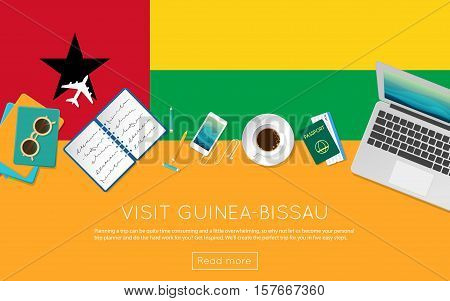 Visit Guinea-bissau Concept For Your Web Banner Or Print Materials. Top View Of A Laptop, Sunglasses
