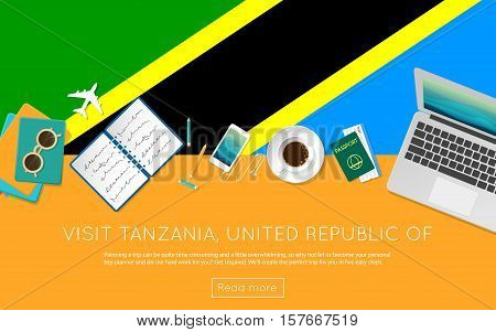 Visit Tanzania, United Republic Of Concept For Your Web Banner Or Print Materials. Top View Of A Lap