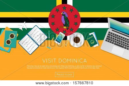 Visit Dominica Concept For Your Web Banner Or Print Materials. Top View Of A Laptop, Sunglasses And