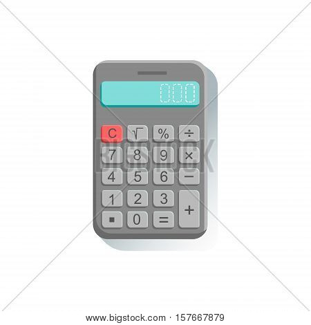 Electronic Calculator Office Worker Desk Element Part Of Workplace Tools And Stationary Set Of Objects. Items For Fully Equipped Working Table Vector Illustration With View From Above.