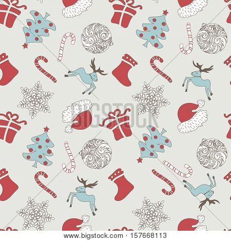 Abstract Cute Holiday Christmas Seamless Pattern On A Gray Background