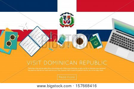 Visit Dominican Republic Concept For Your Web Banner Or Print Materials. Top View Of A Laptop, Sungl