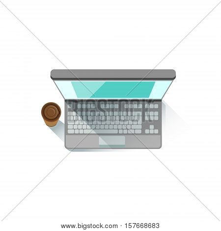 Lap Top An PAper Cup With Coffee Office Worker Desk Element, Part Of Workplace Tools And Stationary Collection Of Objects. Items For Fully Equipped Working Table Vector Illustration With View From Above.
