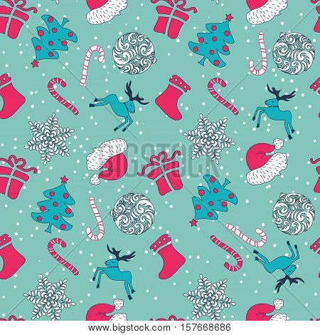 Abstract Cute Holiday Happyness Christmas Seamless Pattern