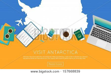 Visit Antarctica Concept For Your Web Banner Or Print Materials. Top View Of A Laptop, Sunglasses An