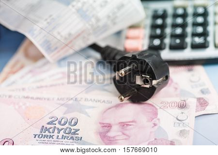 Concept of expensive energy bill and Turkish lira