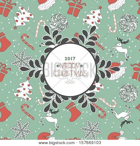 Abstract Cute Hapyness Holiday Christmas Seamless Pattern