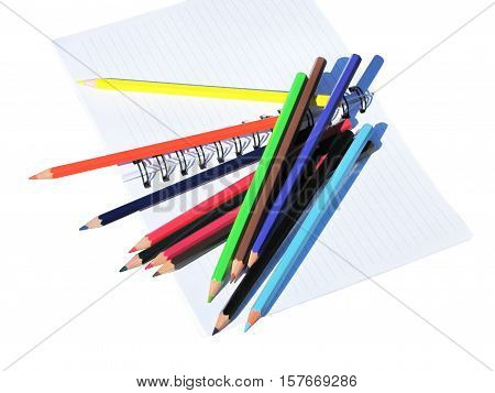 The colored pencils to draw on bebom