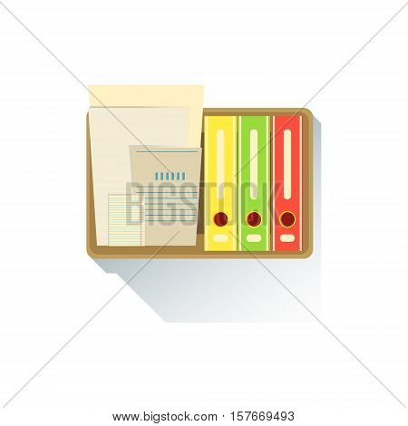 Box With Paper Folders Office Worker Desk Element, Part Of Workplace Tools And Stationary Collection Of Objects. Items For Fully Equipped Working Table Vector Illustration With View From Above.