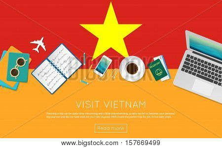 Visit Vietnam Concept For Your Web Banner Or Print Materials. Top View Of A Laptop, Sunglasses And C