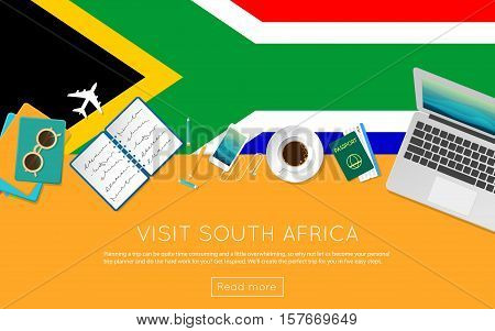 Visit South Africa Concept For Your Web Banner Or Print Materials. Top View Of A Laptop, Sunglasses