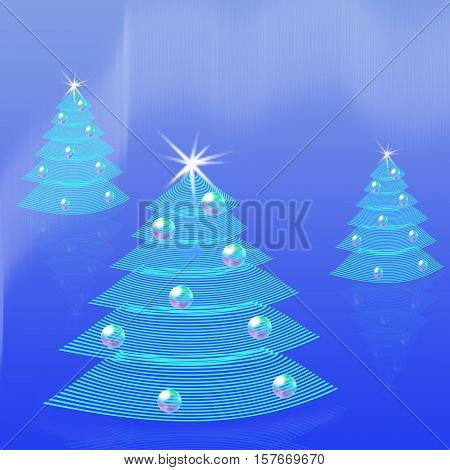 Blue Christmas background. Three stylised striped fir trees with stars and Christmas balls decorated. Greetings postcard border or invitation