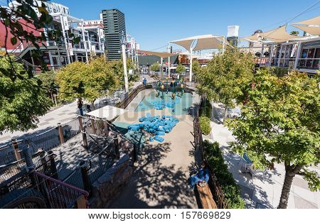 LAS VEGAS - SEPTEMBER 27, 2016 - Container Park on September 27, 2016 in Las Vegas. Container Park is a sustainable shopping attraction in downtown Las Vegas and opened in November 2013.