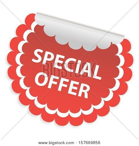 Round white sticker for special offer. A special offer sign. Vector illustration.