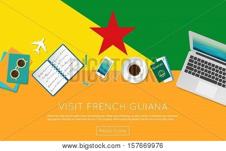 Visit French Guiana Concept For Your Web Banner Or Print Materials. Top View Of A Laptop, Sunglasses