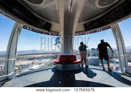 Las Vegas, NV - October 3, 2016: Tourists overlooking the Las Vegas Strip on the High Roller Ferris Wheel in Las Vegas, Nevada, USA