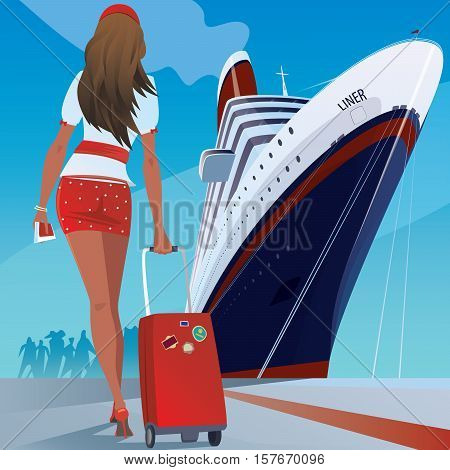 Beautiful young adult woman in a short skirt with a travel suitcase at the pier walks slowly to big cruise ship. Vacation or trip concept