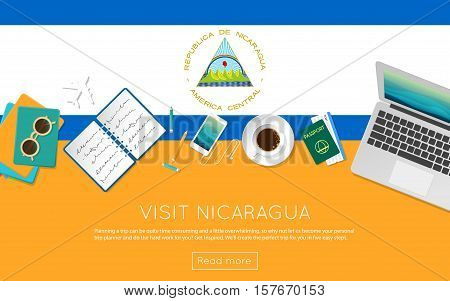 Visit Nicaragua Concept For Your Web Banner Or Print Materials. Top View Of A Laptop, Sunglasses And