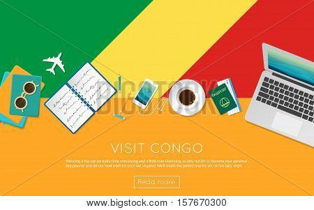 Visit Congo Concept For Your Web Banner Or Print Materials. Top View Of A Laptop, Sunglasses And Cof