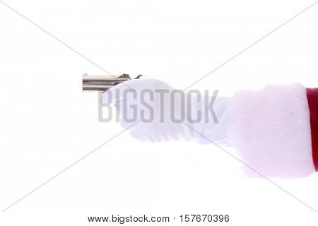 Santa Claus arm wearing white gloves points a Hand Gun. Antique 1887 41 caliber Double Derringer Over and Under Pocket Pistol.  Isolated on white with room for your text.