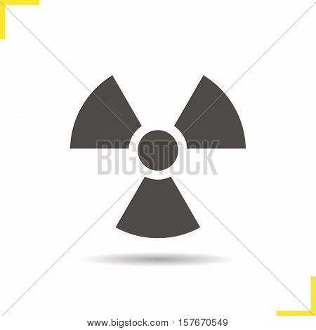 Radiation icon. Drop shadow radioactive danger silhouette symbol. Nuclear energy. Vector isolated illustration