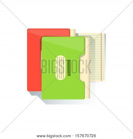 Folders With Documents Office Worker Desk Element, Part Of Workplace Tools And Stationary Collection Of Objects. Items For Fully Equipped Working Table Vector Illustration With View From Above.