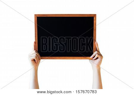 Human Hands Holding Empty Blank Black Board Over White Background - Ready For Adding Your Text Here