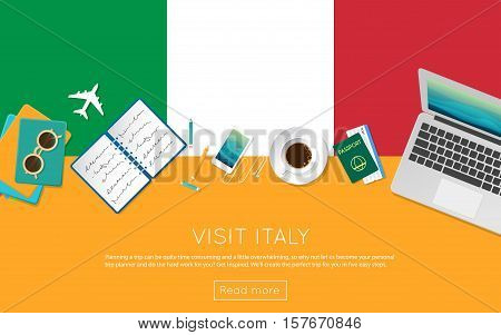 Visit Italy Concept For Your Web Banner Or Print Materials. Top View Of A Laptop, Sunglasses And Cof