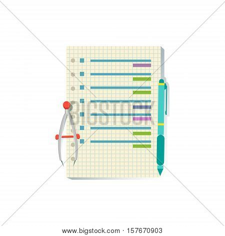 List With Plan Office Worker Desk Element, Part Of Workplace Tools And Stationary Collection Of Objects. Items For Fully Equipped Working Table Vector Illustration With View From Above.
