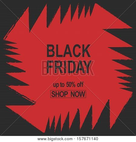 Grunge Black Friday. Sale banner red color angles bright jaws teeth abstract vector illustration.