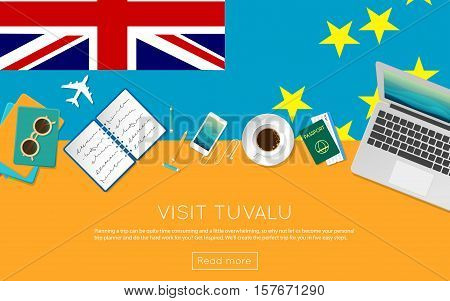 Visit Tuvalu Concept For Your Web Banner Or Print Materials. Top View Of A Laptop, Sunglasses And Co
