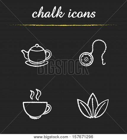 Tea chalk icons set. Teapot, ball infuser, steaming cup, loose tea leaves illustrations. Isolated vector chalkboard drawings