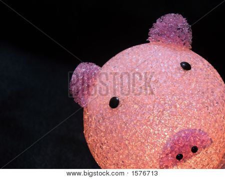 Happy and funny recycled plastic piggy bank isolated on black background poster