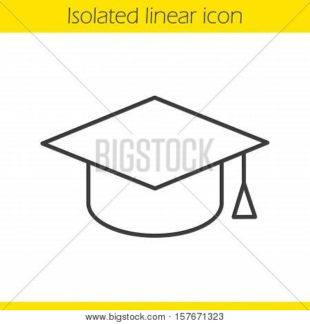 Square academic graduation cap linear icon. Student's hat. Thin line illustration. Contour symbol. Vector isolated outline drawing