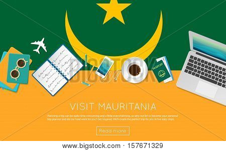 Visit Mauritania Concept For Your Web Banner Or Print Materials. Top View Of A Laptop, Sunglasses An