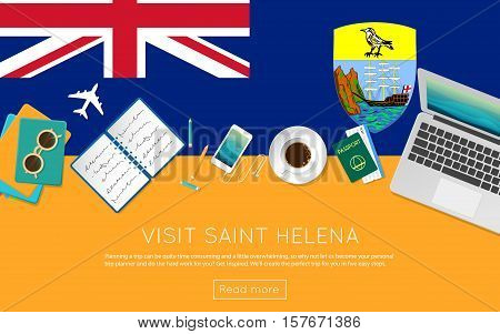 Visit Saint Helena Concept For Your Web Banner Or Print Materials. Top View Of A Laptop, Sunglasses