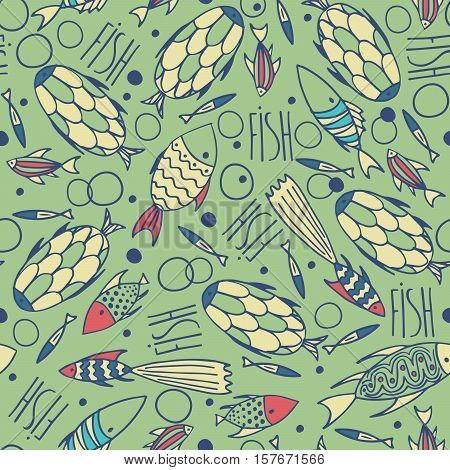 Seamless pattern with small different fishes in a chaotic manner on green background. Handmade cartoon style