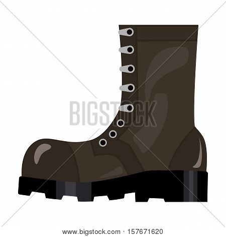 Army combat boots icon in cartoon style isolated on white background. Military and army symbol vector illustration