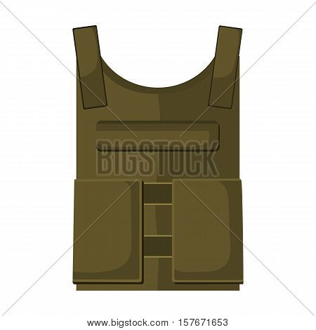 Army bulletproof vest icon in cartoon style isolated on white background. Military and army symbol vector illustration
